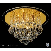 Diyas Atla Flush Ceiling 4 Light Round Gold Plated/Crystal