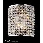 Diyas Ava Rectangle Wall Lamp 2 Light Polished Chrome/Crystal