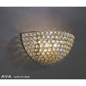Diyas Ava Circular Wall Lamp 2 Light French Gold/Crystal
