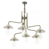 Axel 6 Light Pendant Antique Brass/ French Cream Shds