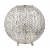 Bazar 1 Light Table Lamp Antique Silver Filigree Globe