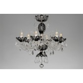 Bohemian BCC06SES Black Crystal Chandelier with Swarovski Trimmings - 6-Light
