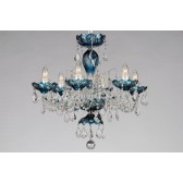 Bohemian BCC06SPS Azure Crystal Chandelier with Swarovski Trimmings - 6-Light