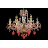 Bohemian BCC06VG Gold Crystal Chandelier with Grape-Shaped Trimmings - 6-Light