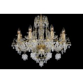 Bohemian BCC08VG Gold Crystal Chandelier with Grape-Shaped Trimmings - 8-Light
