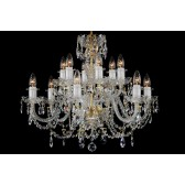 Bohemian BCC12A Clear Crystal Chandelier with Leaded Chains - 12-Light