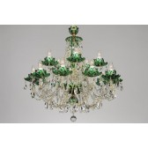 Bohemian BCC15 Green Crystal Chandelier with Lotus - 15-Light