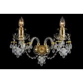 Bohemian W-02VG Gold Crystal Wall Light with Grape-shaped Trimmings - 2-Light