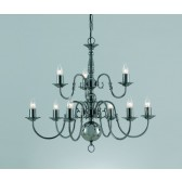 Impex Flemish Chandelier Gun Metal - 9 Light
