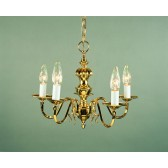 Impex Ghent Chandelier Cast - 5 Light, Brass Plate & Gold Plate