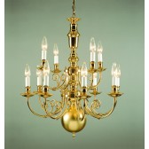 Impex Beveren Chandelier - 12 Light, Brass Plate & Gold Plate