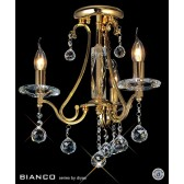 Diyas Bianco Crystal Ceiling 3 Light Gold Plated