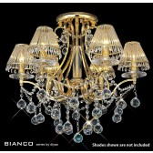 Diyas Bianco Crystal Ceiling 6 Light Gold Plated