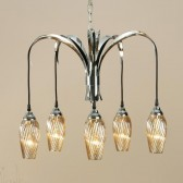 Interiors1900 Lily 5 Light Chandelier, Amber Glass