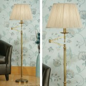 Interiors1900 Stanford Brass Swing Arm Floor Lamp, Beige