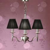 Interiors1900 Stanford Nickel 3-Light Chandelier, Black