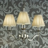 Interiors1900 Stanford Nickel 3-Light Chandelier, Beige