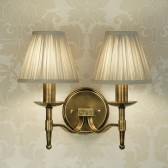 Interiors1900 Stanford Brass Double Wall Light, Beige