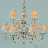 Interiors1900 Tilburg Nickel 9-Light, Beige Shade