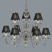 Interiors1900 Tilburg Nickel 9-Light, Black/Nickel Shade