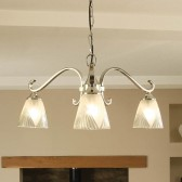 Interiors1900 Columbia Nickel 3-Light Down, Deco Glass