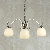 Interiors1900 Columbia Nickel 3-Light Down, Opal Matt Glass