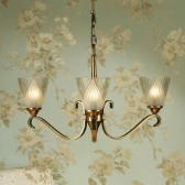 Interiors1900 Columbia Brass 3-Light Chandelier, Deco Glass