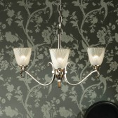 Interiors1900 Columbia Nickel 3-Light Chandelier, Deco Glass