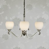 Interiors1900 Columbia Nickel 3-Light Chandelier, Opal Glass