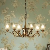 Interiors1900 Columbia Brass 6-Light Chandelier, Deco Glass