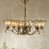 Interiors1900 Columbia Brass 6-Light Chandelier, Feathered Art Glass