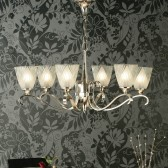 Interiors1900 Columbia Nickel 6-Light Chandelier, Deco Glass