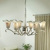 Interiors1900 Columbia Nickel 6-Light Chandelier, Feathered Art Glass