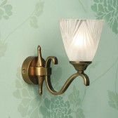 Interiors1900 Columbia Brass Single Wall Light, Deco Glass
