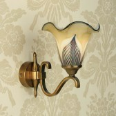 Interiors1900 Columbia Brass Single Wall Light, Feathered Art Glass