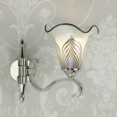 Interiors1900 Columbia Nickel 1-Light Wall Light, Feathered Art Glass