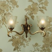 Interiors1900 Columbia Brass Double Wall Light, Deco Glass