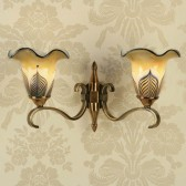 Interiors1900 Columbia Brass Double Wall Light, Feathered Art Glass