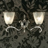 Interiors1900 Columbia Nickel Double Wall Light, Deco Glass