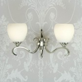 Interiors1900 Columbia Nickel Double Wall Light, Opal Glass