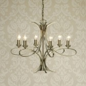 Interiors1900 Penn 6-Light Chandelier, Brushed Brass Finish