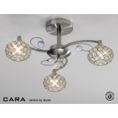 Diyas Cara Semi Flush 3 Light Satin Nickle/Crystal