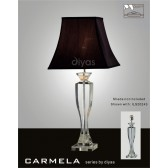 Diyas Carmela Table Lamp 1 Light Polished Chrome/Crystal