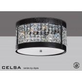 Diyas Celsa Ceiling 3 Light Polished Chrome/Black Faux Leather/Crystal