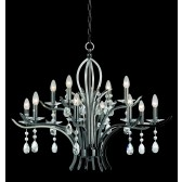 Impex Turin Chandelier Gun Metal - 12 Light