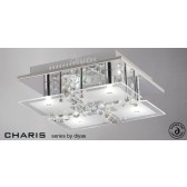 Diyas Chisora Ceiling 4 Light Chrome/Crystal