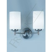 Franklite Decima Wall Bracket - 2 Light, Matt Nickel, Opal Cylinder Glass