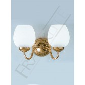 Franklite Alba Double Wall Light - 2 Light, Polished Brass, Complete with Shade