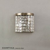 Diyas Cortina Wall Lamp 2 Light Antique Brass/Crystal