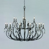 Impex Rhinestone Chandelier Gun Metal - 18 Light